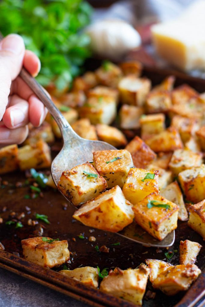 garlic parmesan roasted potatoes make delicious side dish.