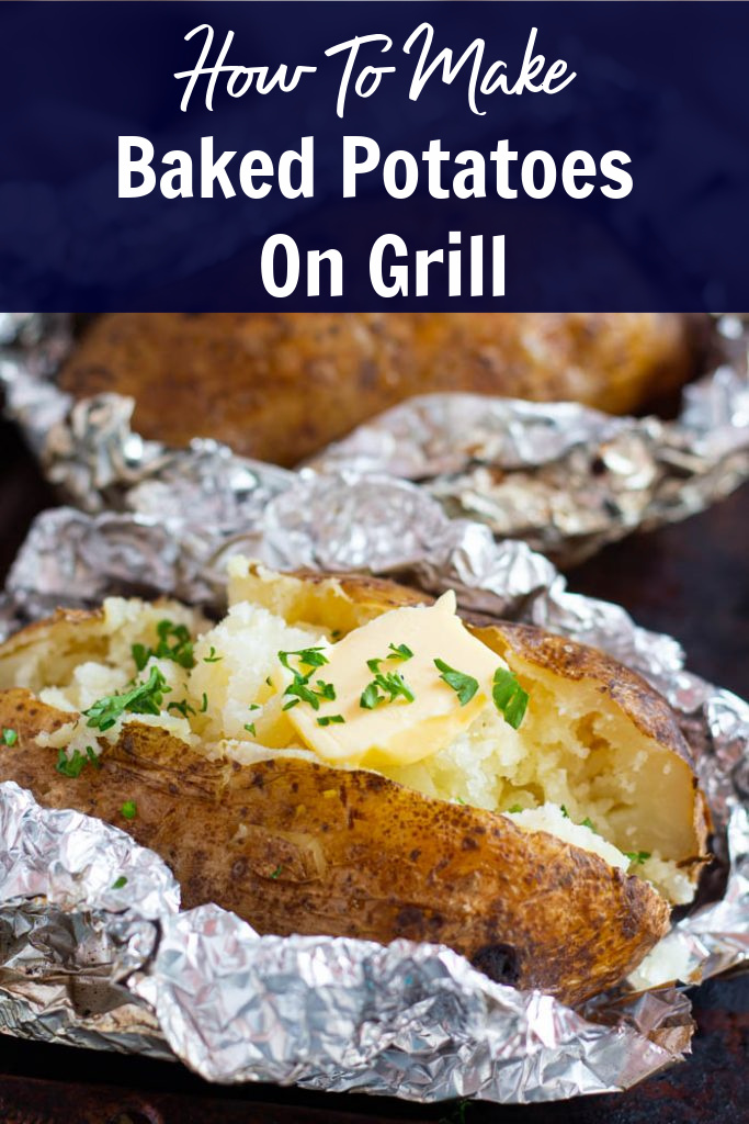 Learn how to make the best baked potatoes on grill! Wrapping the potatoes in foil will capture the heat and make them so tender and fluffy inside with the best crispy skin! I've included everything you need to know from what kind of potatoes to use to how long to cook!