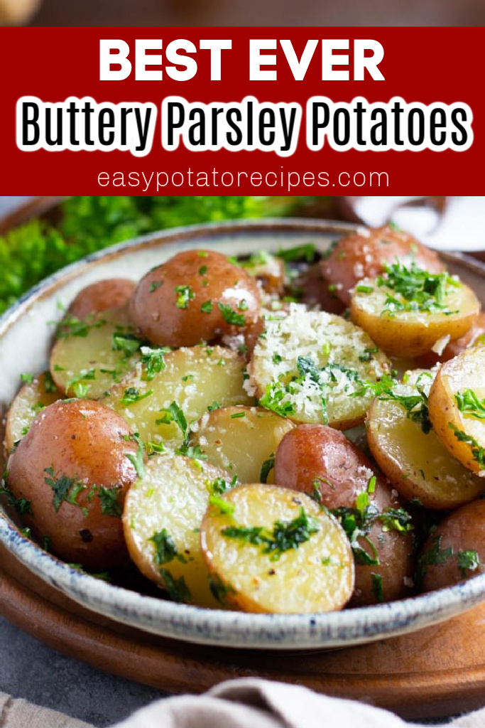 This is the best buttered parsley potatoes recipe! It makes the perfect side dish for anything. You only need a few ingredients and a few minutes to make this delicious dish. Boiled red potatoes flavored with butter are too good to resist!