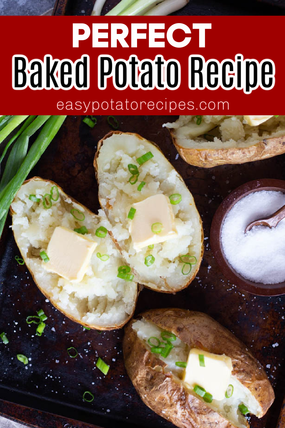 Perfect baked potato recipe! Learn how to make the best oven baked potatoes with just a few ingredients. These are crispy on the outside and so fluffy and tender on the inside. Serve with butter, sour cream, bacon and cheese!